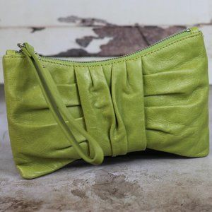 HOBO TRIXIE Leather Wristlet Clutch Leaf Green